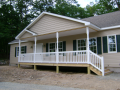 Gabled covered porch with composite decking